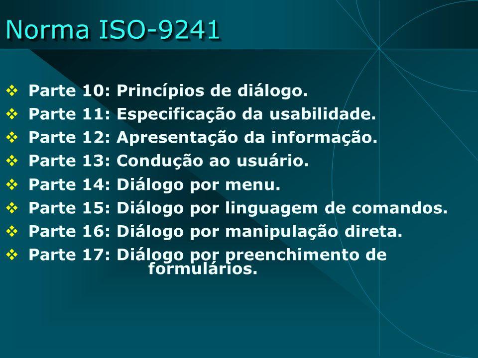 Norma ISO-9241 Parte 10: Princípios de diálogo. Parte 11: Especificação da usabilidade. Parte 12: Apresentação da informação. Parte 13: Condução ao us