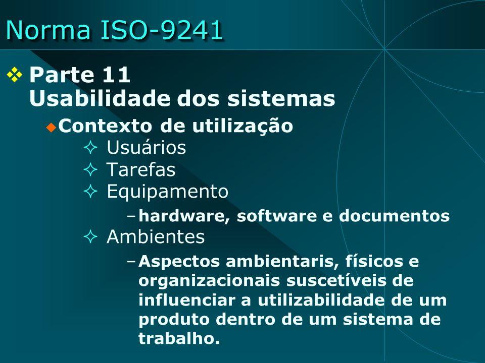 Norma ISO-9241 Parte 11 Usabilidade dos sistemas Contexto de utilização Usuários Tarefas Equipamento –hardware, software e documentos Ambientes –Aspec