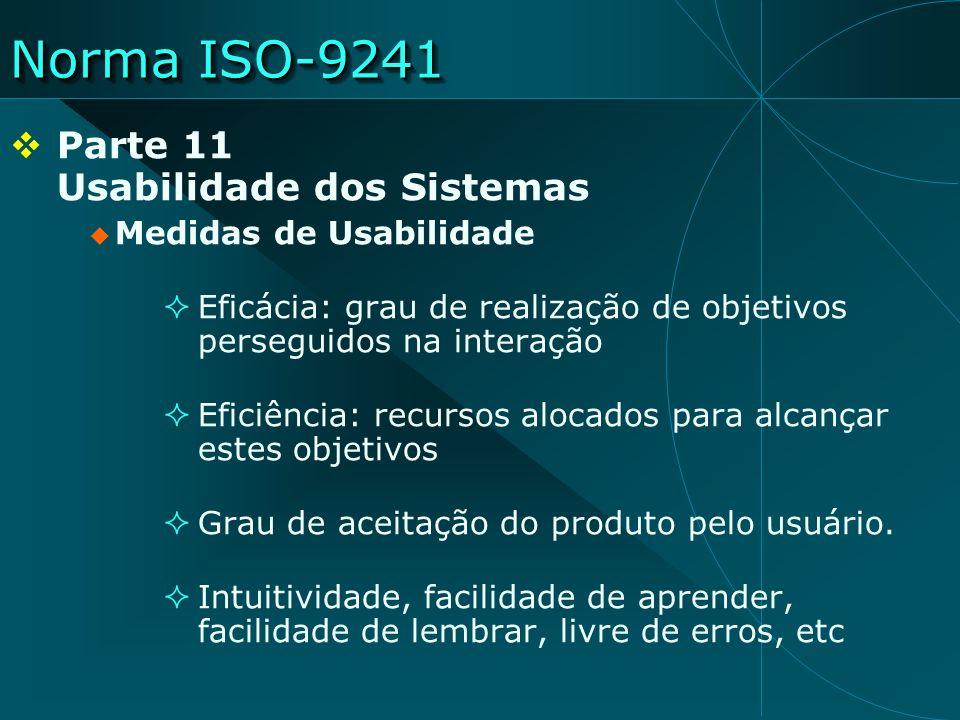 Norma ISO-9241 Parte 11 Usabilidade dos Sistemas Medidas de Usabilidade Eficácia: grau de realização de objetivos perseguidos na interação Eficiência: