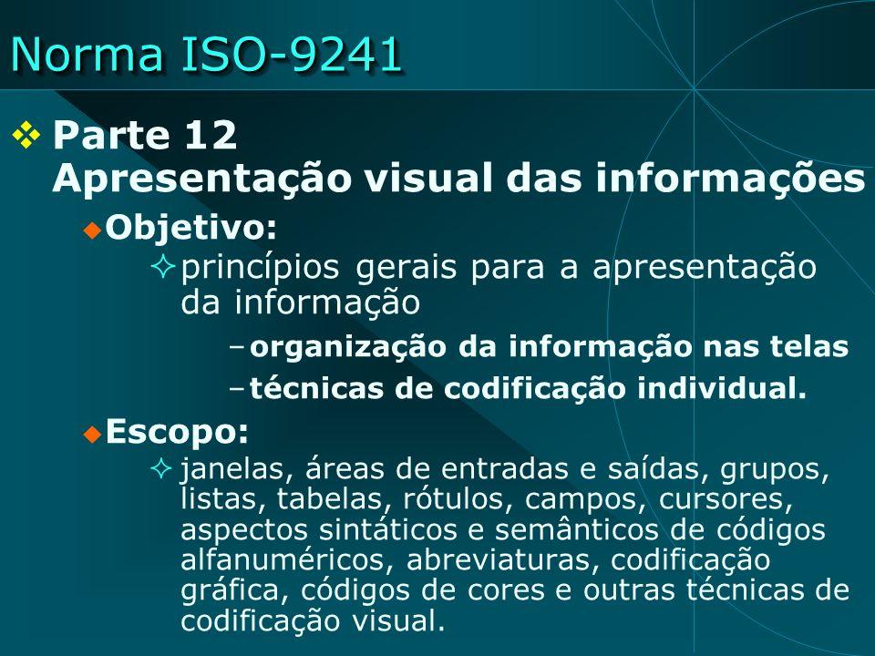Norma ISO-9241 Parte 12 Apresentação visual das informações Objetivo: princípios gerais para a apresentação da informação –organização da informação n