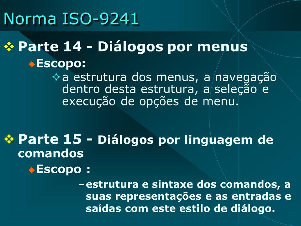 Norma ISO-9241 Parte 14 - Diálogos por menus Escopo: a estrutura dos menus, a navegação dentro desta estrutura, a seleção e execução de opções de menu