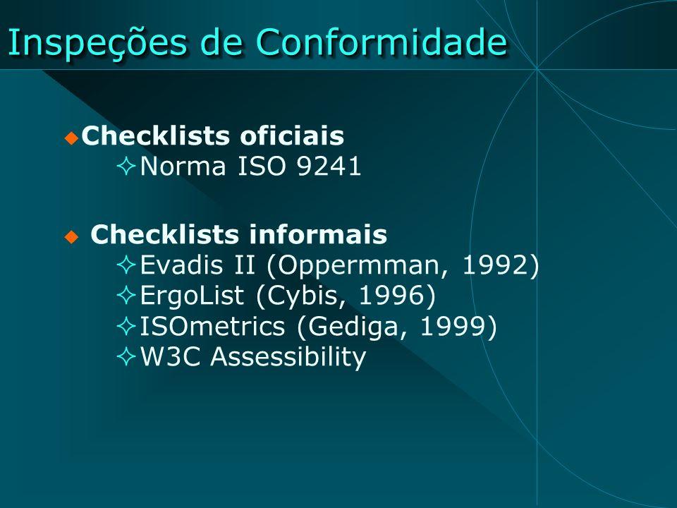 Inspeções de Conformidade Checklists oficiais Norma ISO 9241 Checklists informais Evadis II (Oppermman, 1992) ErgoList (Cybis, 1996) ISOmetrics (Gedig