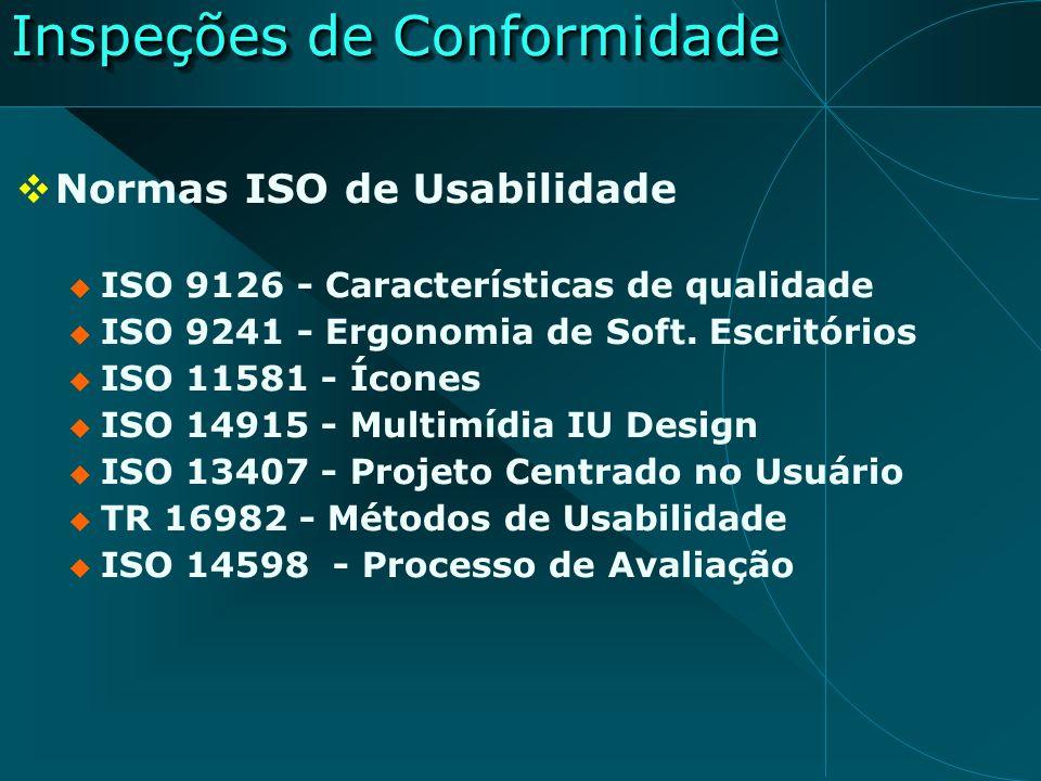 Inspeções de Conformidade Normas ISO de Usabilidade ISO 9126 - Características de qualidade ISO 9241 - Ergonomia de Soft. Escritórios ISO 11581 - Ícon
