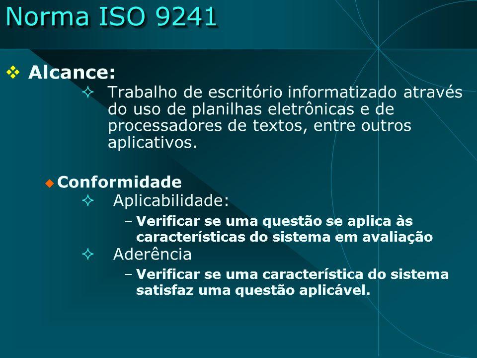 Norma ISO-9241 Procedimentos para aplicação (cont.) Relatório de aplicação tarefas avaliadas, os quesitos aplicáveis os quesitos respeitados os quesitos não respeitados