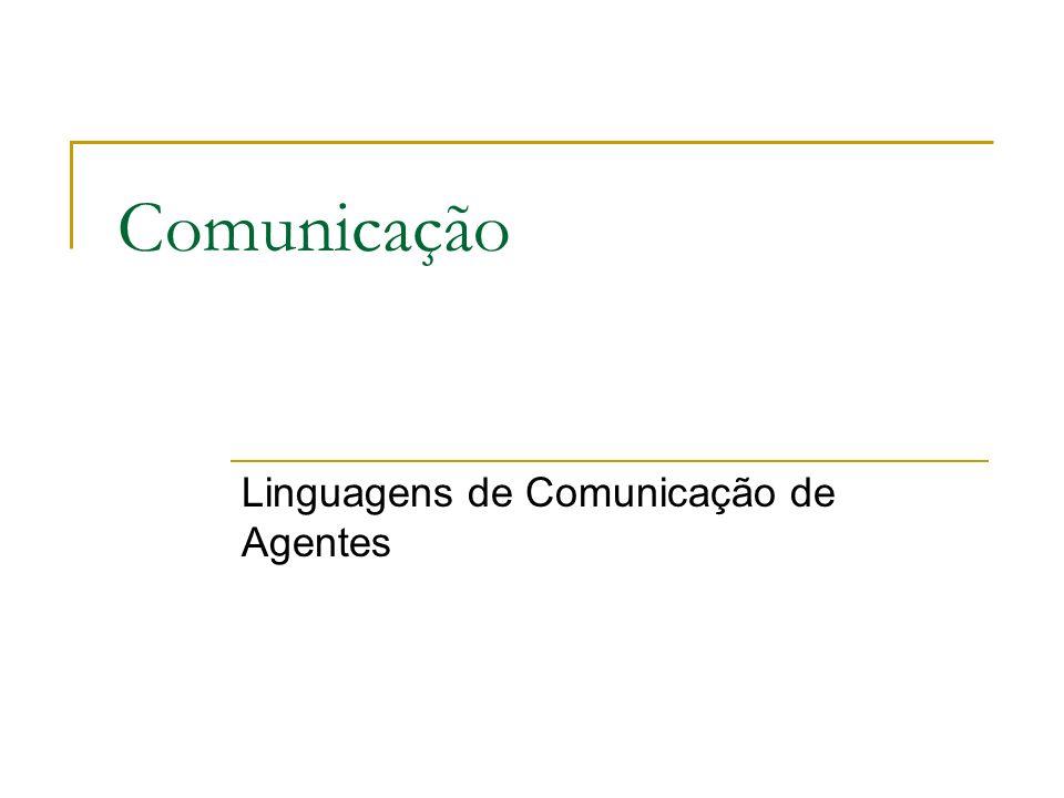 Linguagens de Comunicação de Agentes Exemplo de uma mensagem KQML: ( ask-one : content (PRICE_IBM .