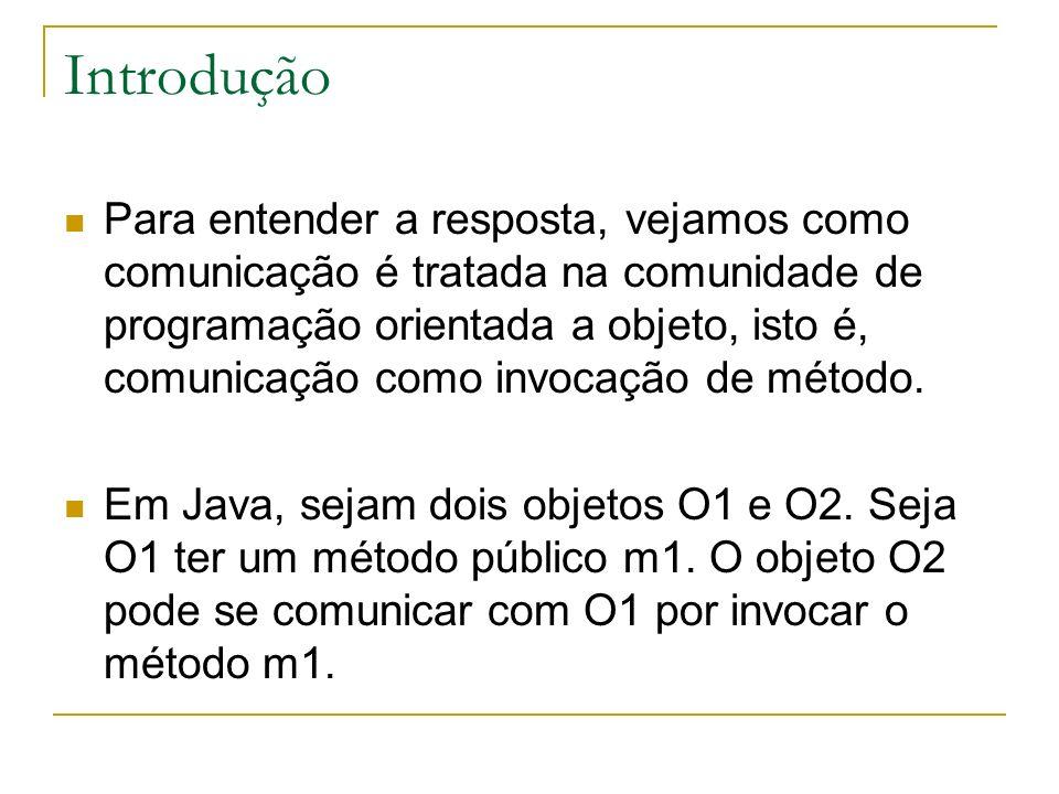 Introdução Em Java, O2 executa uma instrução parecida a algo como: o1.m1(arg), onde arg é o argumento que O2 deseja comunicar a O1.