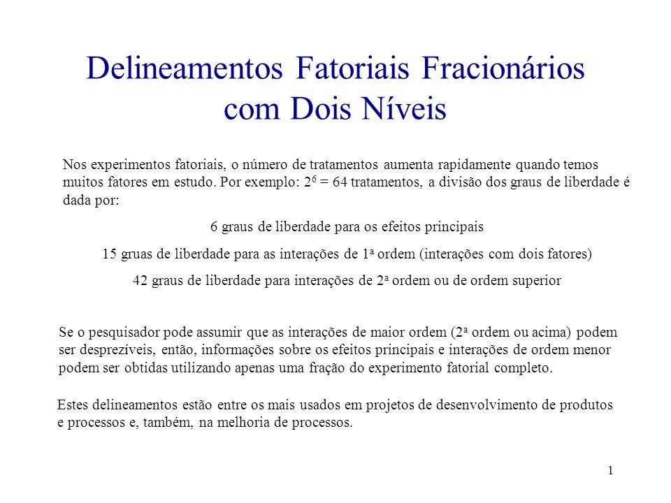 1 Delineamentos Fatoriais Fracionários com Dois Níveis Nos experimentos fatoriais, o número de tratamentos aumenta rapidamente quando temos muitos fat