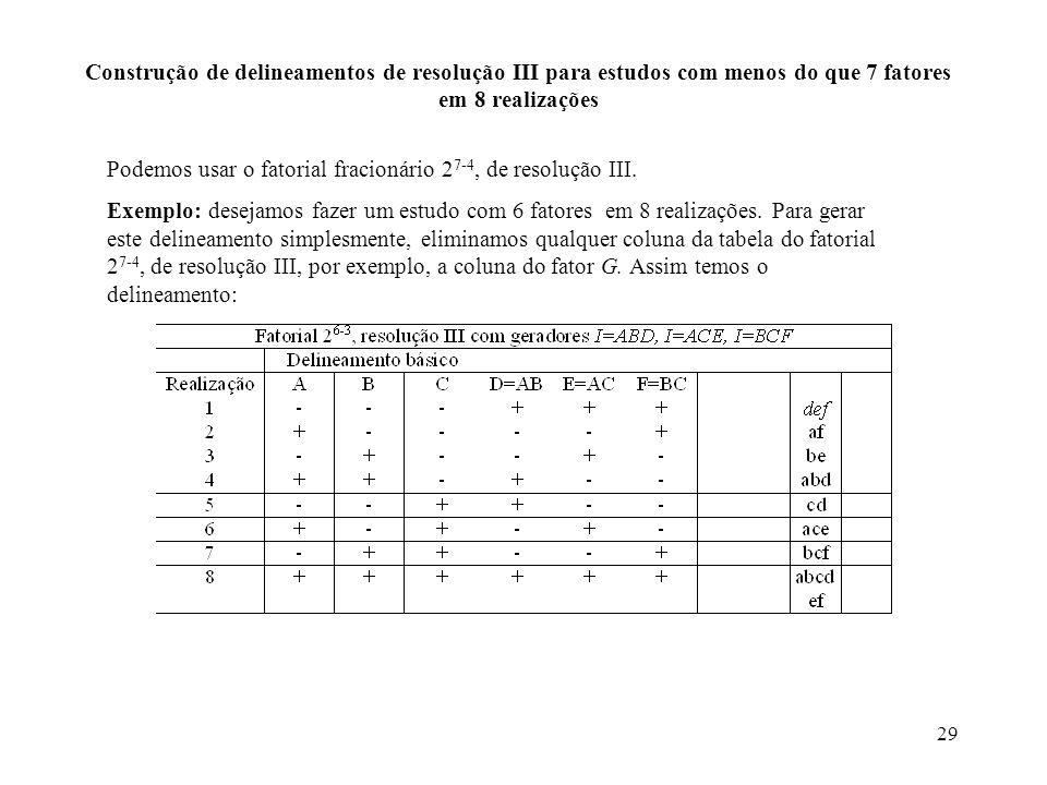 29 Construção de delineamentos de resolução III para estudos com menos do que 7 fatores em 8 realizações Podemos usar o fatorial fracionário 2 7-4, de