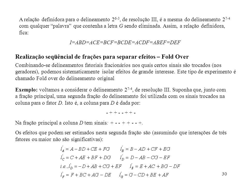 30 A relação definidora para o delineamento 2 6-3, de resolução III, é a mesma do delineamento 2 7-4 com qualquer palavra que contenha a letra G sendo