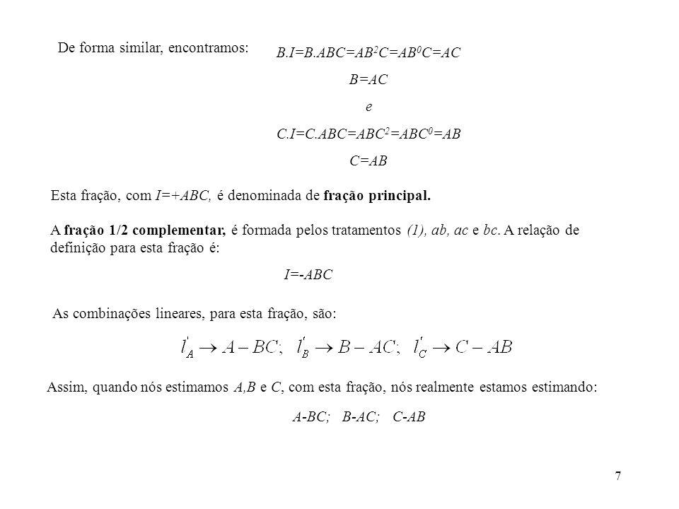 7 De forma similar, encontramos: B.I=B.ABC=AB 2 C=AB 0 C=AC B=AC e C.I=C.ABC=ABC 2 =ABC 0 =AB C=AB Esta fração, com I=+ABC, é denominada de fração pri
