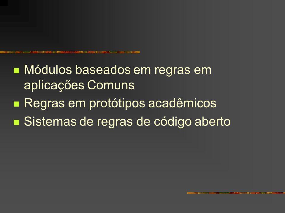 Módulos baseados em regras em aplicações Comuns Regras em protótipos acadêmicos Sistemas de regras de código aberto