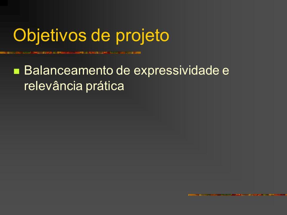 Objetivos de projeto Balanceamento de expressividade e relevância prática