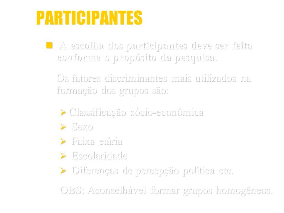 PARTICIPANTES A escolha dos participantes deve ser feita conforme o propósito da pesquisa. A escolha dos participantes deve ser feita conforme o propó