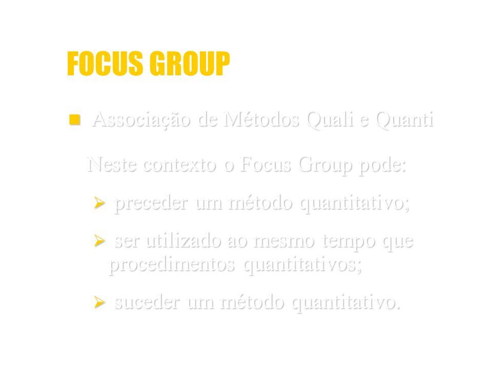 FOCUS GROUP Associação de Métodos Quali e Quanti Associação de Métodos Quali e Quanti Neste contexto o Focus Group pode: preceder um método quantitati