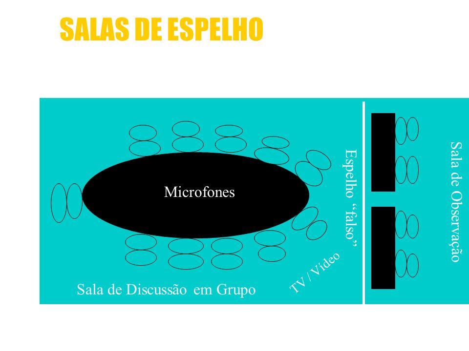 SALAS DE ESPELHO Sala de Discussão em Grupo Microfones TV / Vídeo Espelho falso Sala de Observação