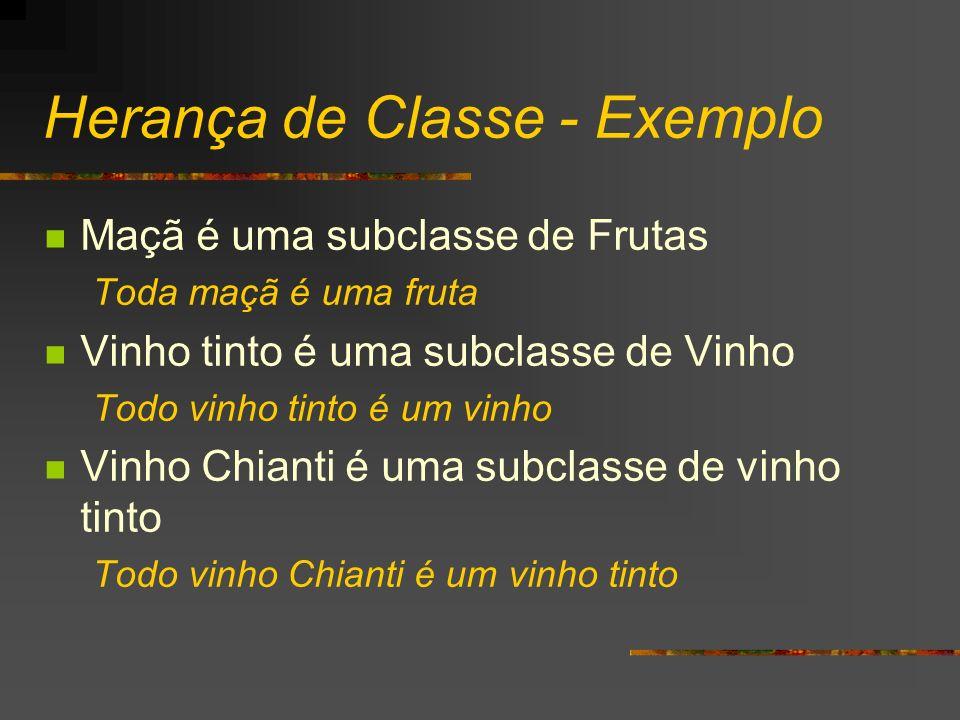 Herança de Classe - Exemplo Maçã é uma subclasse de Frutas Toda maçã é uma fruta Vinho tinto é uma subclasse de Vinho Todo vinho tinto é um vinho Vinh