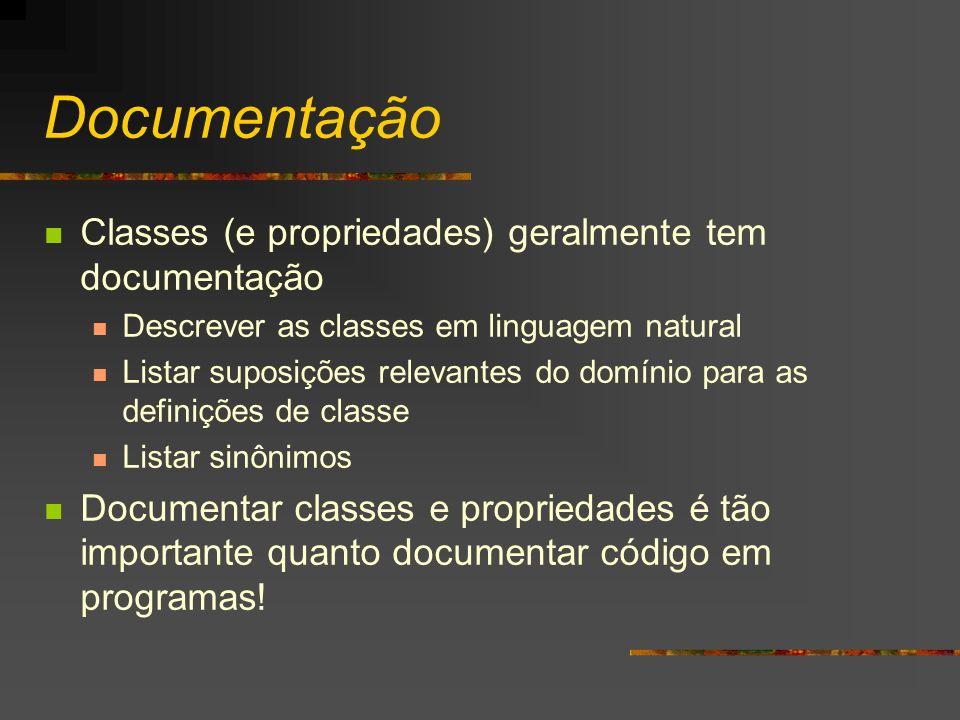 Documentação Classes (e propriedades) geralmente tem documentação Descrever as classes em linguagem natural Listar suposições relevantes do domínio pa