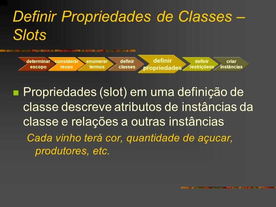 Definir Propriedades de Classes – Slots Propriedades (slot) em uma definição de classe descreve atributos de instâncias da classe e relações a outras