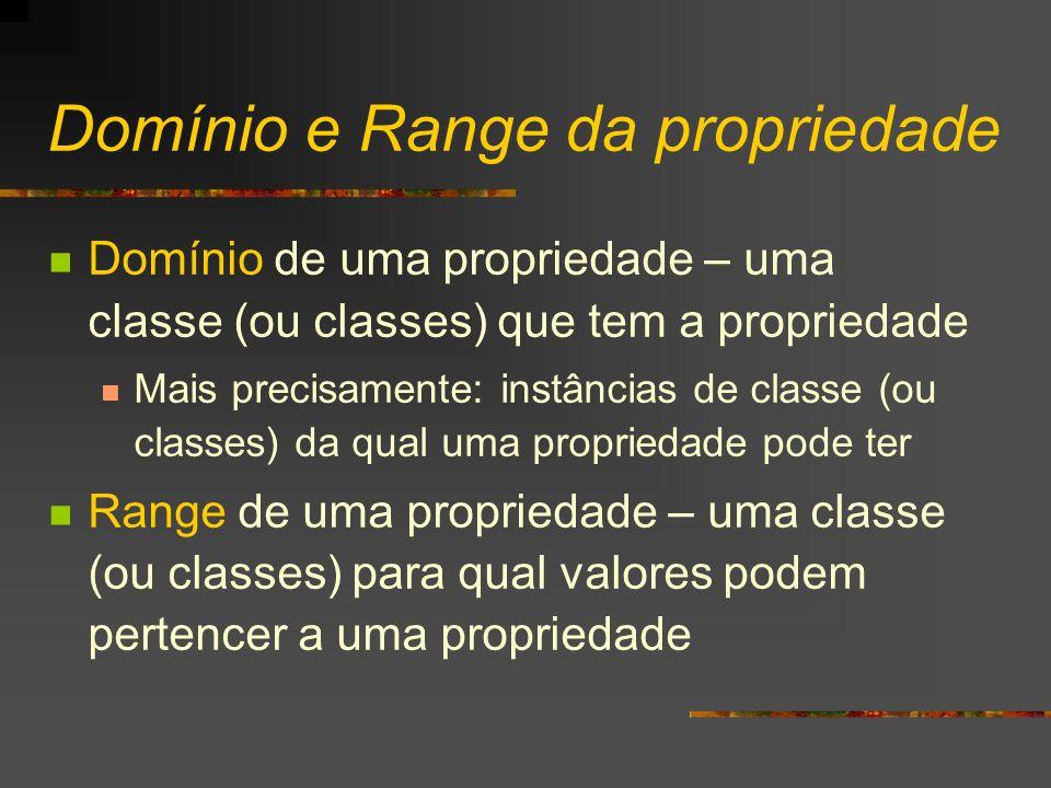 Domínio e Range da propriedade Domínio de uma propriedade – uma classe (ou classes) que tem a propriedade Mais precisamente: instâncias de classe (ou