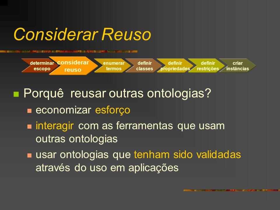 Considerar Reuso Porquê reusar outras ontologias? economizar esforço interagir com as ferramentas que usam outras ontologias usar ontologias que tenha