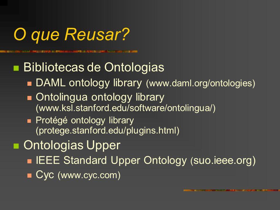 O que Reusar?(II) Ontologia Geral DMOZ (www.dmoz.org) WordNet ( www.cogsci.princeton.edu/~wn/) Ontologias de domínio-específico UMLS Semantic Net GO (Gene Ontology) ( www.geneontology.org)