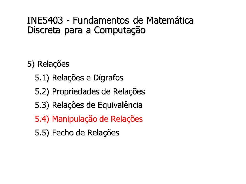 INE5403 - Fundamentos de Matemática Discreta para a Computação 5) Relações 5.1) Relações e Dígrafos 5.1) Relações e Dígrafos 5.2) Propriedades de Relações 5.2) Propriedades de Relações 5.3) Relações de Equivalência 5.3) Relações de Equivalência 5.4) Manipulação de Relações 5.4) Manipulação de Relações 5.5) Fecho de Relações 5.5) Fecho de Relações