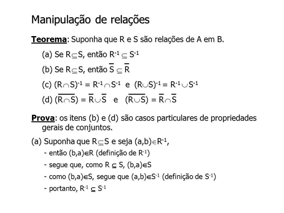 Manipulação de relações Prova: os itens (b) e (d) são casos particulares de propriedades gerais de conjuntos.