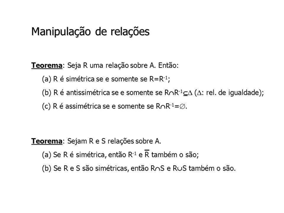 Manipulação de relações Teorema: Seja R uma relação sobre A.