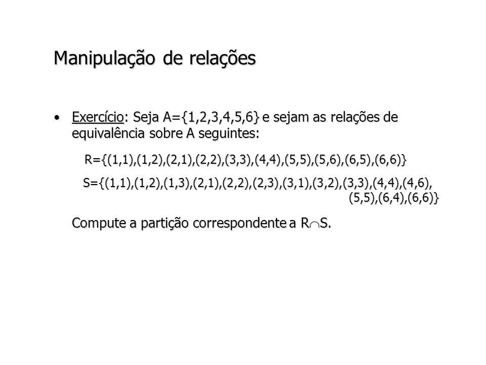 Manipulação de relações Exercício: Seja A={1,2,3,4,5,6} e sejam as relações de equivalência sobre A seguintes:Exercício: Seja A={1,2,3,4,5,6} e sejam as relações de equivalência sobre A seguintes: R={(1,1),(1,2),(2,1),(2,2),(3,3),(4,4),(5,5),(5,6),(6,5),(6,6)} R={(1,1),(1,2),(2,1),(2,2),(3,3),(4,4),(5,5),(5,6),(6,5),(6,6)} S={(1,1),(1,2),(1,3),(2,1),(2,2),(2,3),(3,1),(3,2),(3,3),(4,4),(4,6), (5,5),(6,4),(6,6)} S={(1,1),(1,2),(1,3),(2,1),(2,2),(2,3),(3,1),(3,2),(3,3),(4,4),(4,6), (5,5),(6,4),(6,6)} Compute a partição correspondente a R S.