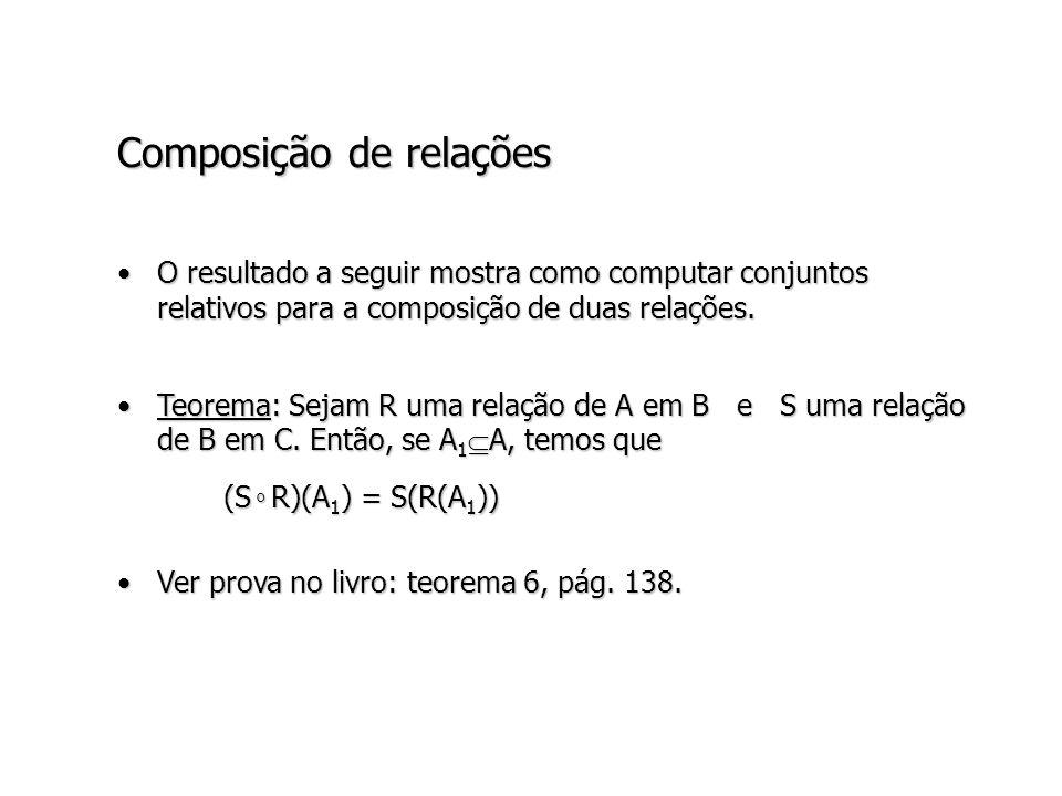 Composição de relações O resultado a seguir mostra como computar conjuntos relativos para a composição de duas relações.O resultado a seguir mostra como computar conjuntos relativos para a composição de duas relações.