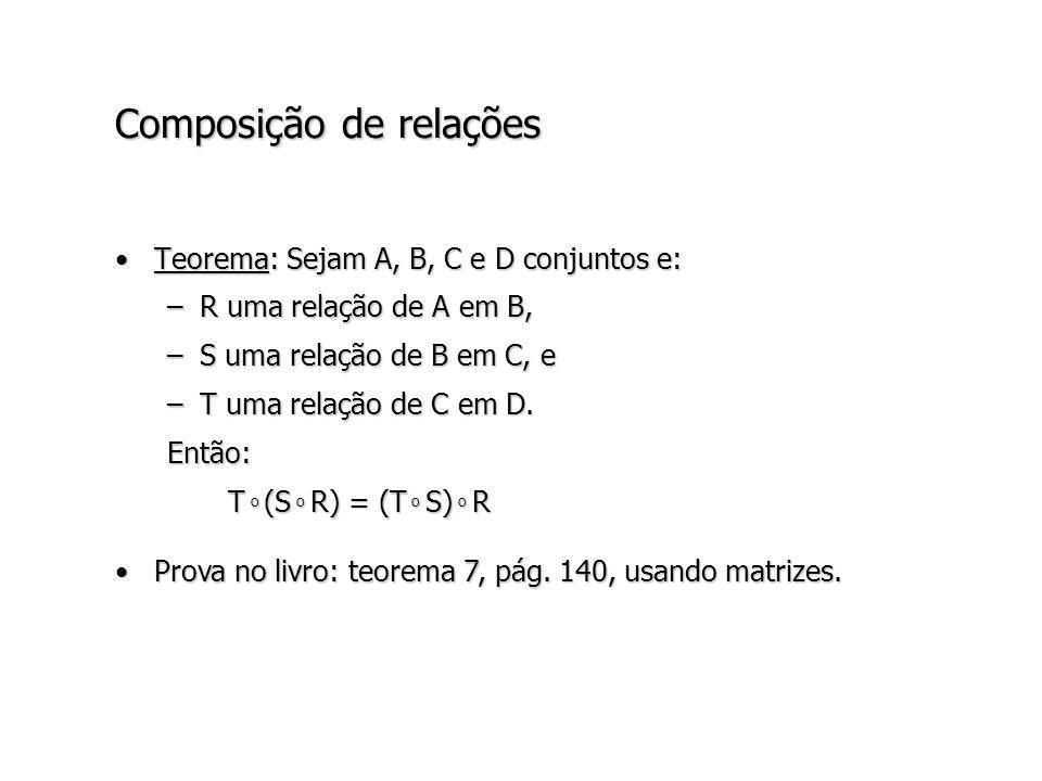 Composição de relações Teorema: Sejam A, B, C e D conjuntos e:Teorema: Sejam A, B, C e D conjuntos e: –R uma relação de A em B, –S uma relação de B em C, e –T uma relação de C em D.