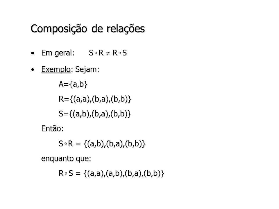 Composição de relações Em geral: S o R R o SEm geral: S o R R o S Exemplo: Sejam:Exemplo: Sejam:A={a,b}R={(a,a),(b,a),(b,b)}S={(a,b),(b,a),(b,b)}Então: S o R = {(a,b),(b,a),(b,b)} enquanto que: R o S = {(a,a),(a,b),(b,a),(b,b)}