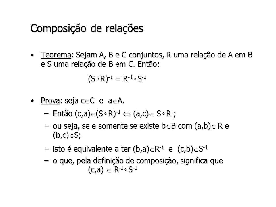 Composição de relações Teorema: Sejam A, B e C conjuntos, R uma relação de A em B e S uma relação de B em C.