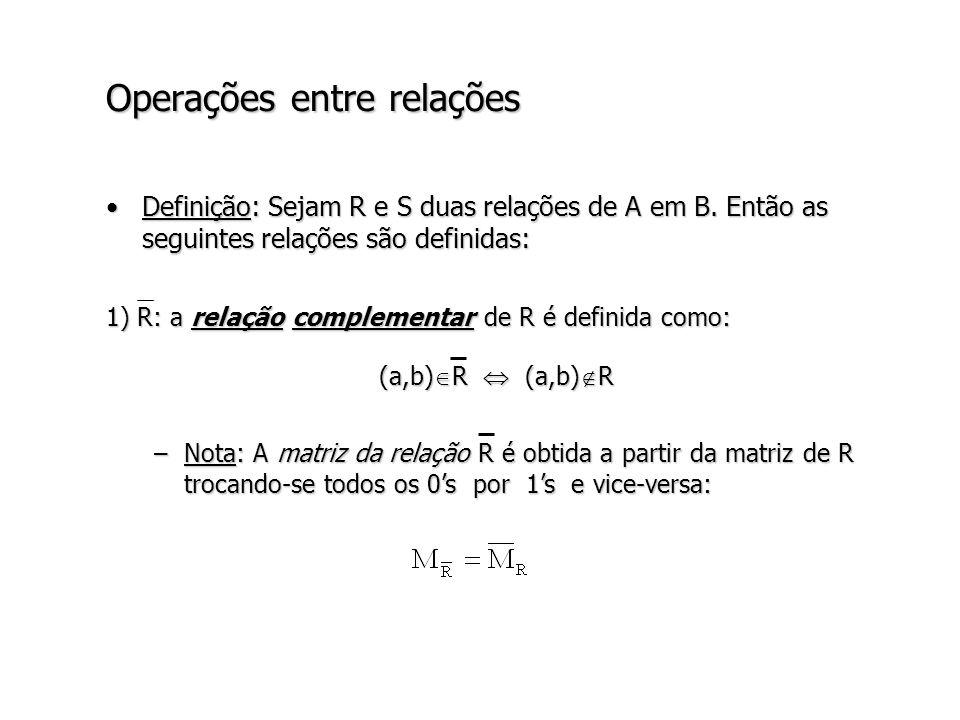 Operações entre relações 2) R S: a relação intersecção de R com S é definida como: (a,b) R S (a,b) R (a,b) S –Nota: M R S = M R M S (operação matricial lógica sobre as matrizes booleanas M R e M S ).