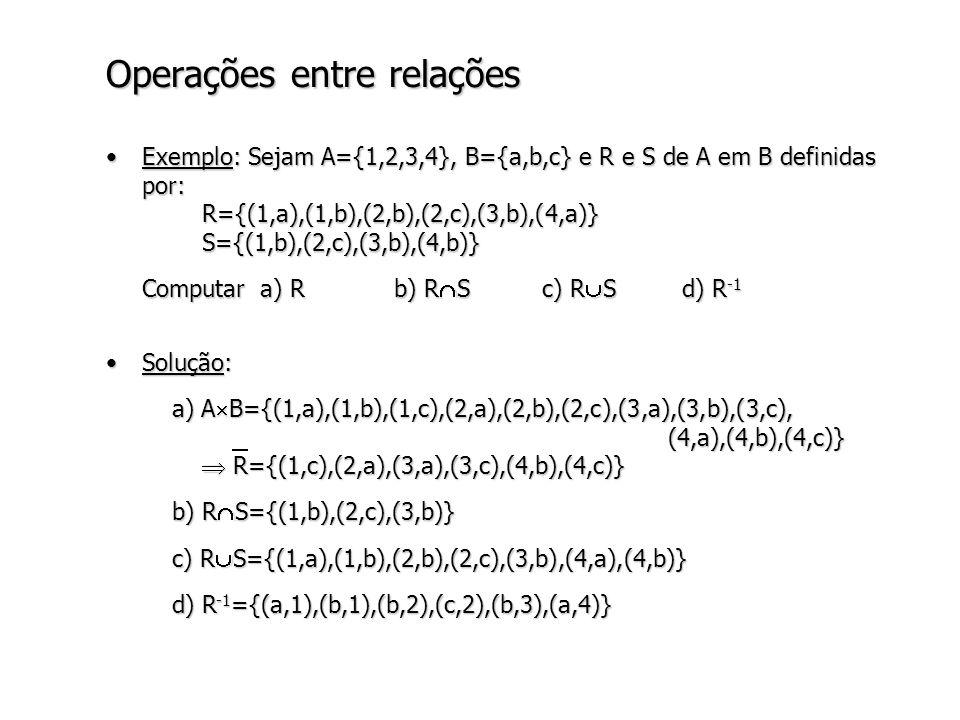 Operações entre relações Exemplo: Sejam A={1,2,3,4}, B={a,b,c} e R e S de A em B definidas por: R={(1,a),(1,b),(2,b),(2,c),(3,b),(4,a)} S={(1,b),(2,c),(3,b),(4,b)}Exemplo: Sejam A={1,2,3,4}, B={a,b,c} e R e S de A em B definidas por: R={(1,a),(1,b),(2,b),(2,c),(3,b),(4,a)} S={(1,b),(2,c),(3,b),(4,b)} Computar a) Rb) R S c) R Sd) R -1 Solução:Solução: a) A B={(1,a),(1,b),(1,c),(2,a),(2,b),(2,c),(3,a),(3,b),(3,c), (4,a),(4,b),(4,c)} R={(1,c),(2,a),(3,a),(3,c),(4,b),(4,c)} a) A B={(1,a),(1,b),(1,c),(2,a),(2,b),(2,c),(3,a),(3,b),(3,c), (4,a),(4,b),(4,c)} R={(1,c),(2,a),(3,a),(3,c),(4,b),(4,c)} b) R S={(1,b),(2,c),(3,b)} b) R S={(1,b),(2,c),(3,b)} c) R S={(1,a),(1,b),(2,b),(2,c),(3,b),(4,a),(4,b)} c) R S={(1,a),(1,b),(2,b),(2,c),(3,b),(4,a),(4,b)} d) R -1 ={(a,1),(b,1),(b,2),(c,2),(b,3),(a,4)} d) R -1 ={(a,1),(b,1),(b,2),(c,2),(b,3),(a,4)}