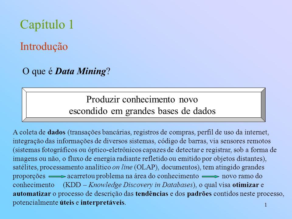 1 Capítulo 1 Introdução O que é Data Mining? Produzir conhecimento novo escondido em grandes bases de dados A coleta de dados (transações bancárias, r