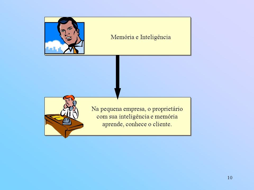 10 Memória e Inteligência Na pequena empresa, o proprietário com sua inteligência e memória aprende, conhece o cliente.