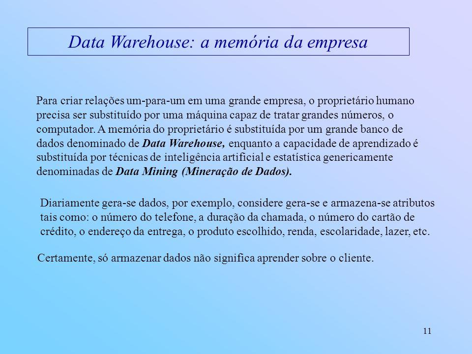 11 Data Warehouse: a memória da empresa Para criar relações um-para-um em uma grande empresa, o proprietário humano precisa ser substituído por uma má