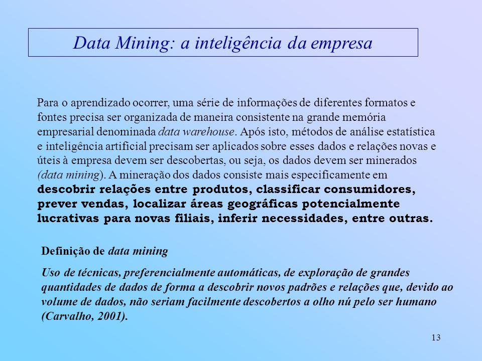 13 Data Mining: a inteligência da empresa Para o aprendizado ocorrer, uma série de informações de diferentes formatos e fontes precisa ser organizada