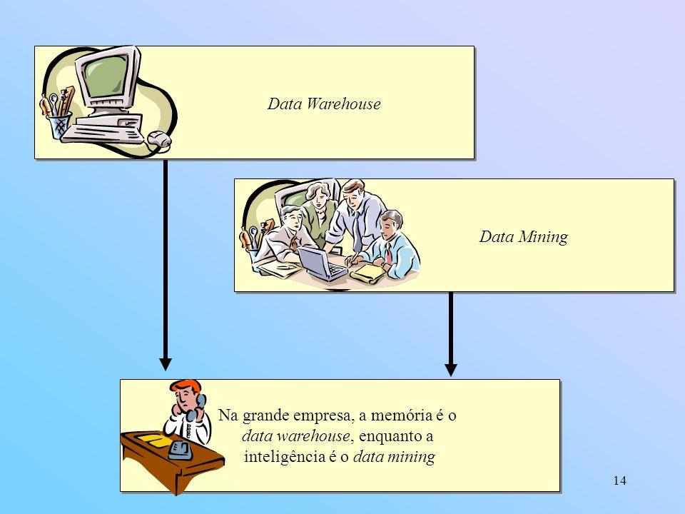 14 Data Warehouse Data Mining Na grande empresa, a memória é o data warehouse, enquanto a inteligência é o data mining Na grande empresa, a memória é