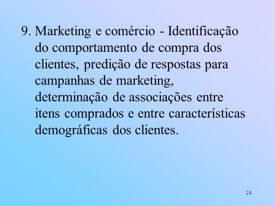 24 9.Marketing e comércio - Identificação do comportamento de compra dos clientes, predição de respostas para campanhas de marketing, determinação de