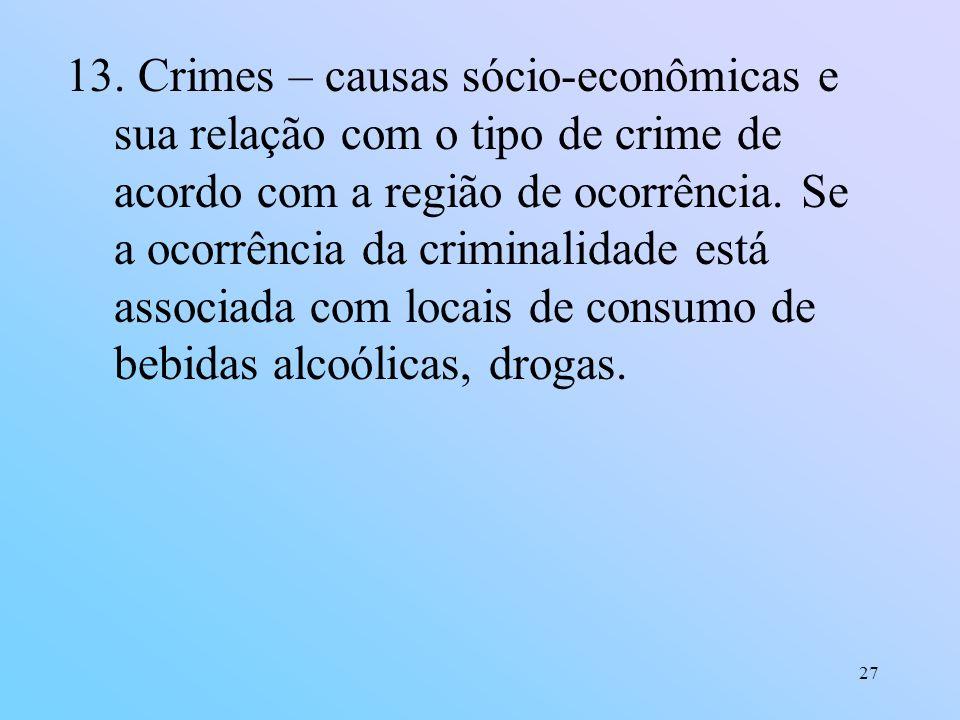 27 13. Crimes – causas sócio-econômicas e sua relação com o tipo de crime de acordo com a região de ocorrência. Se a ocorrência da criminalidade está