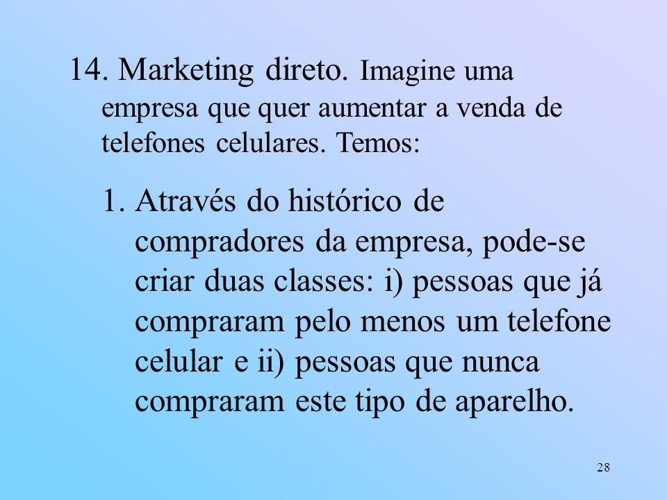 28 14. Marketing direto. Imagine uma empresa que quer aumentar a venda de telefones celulares. Temos: 1.Através do histórico de compradores da empresa
