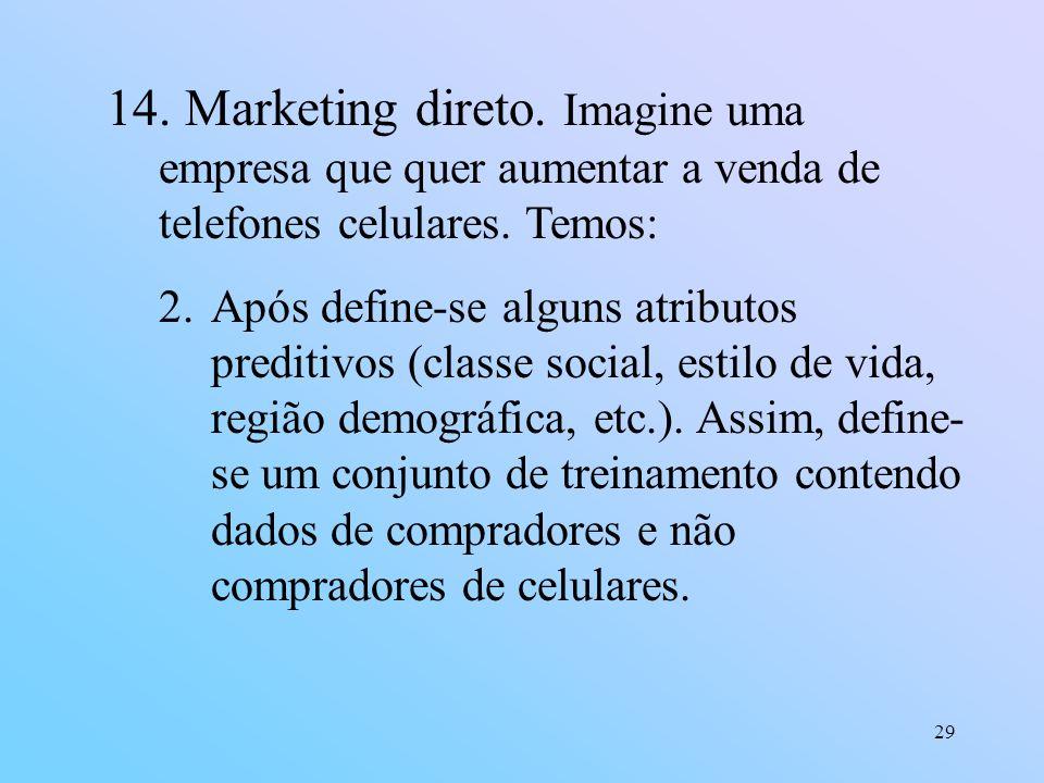 29 14. Marketing direto. Imagine uma empresa que quer aumentar a venda de telefones celulares. Temos: 2.Após define-se alguns atributos preditivos (cl