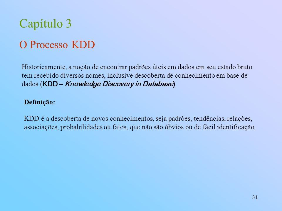 31 Capítulo 3 O Processo KDD Historicamente, a noção de encontrar padrões úteis em dados em seu estado bruto tem recebido diversos nomes, inclusive de