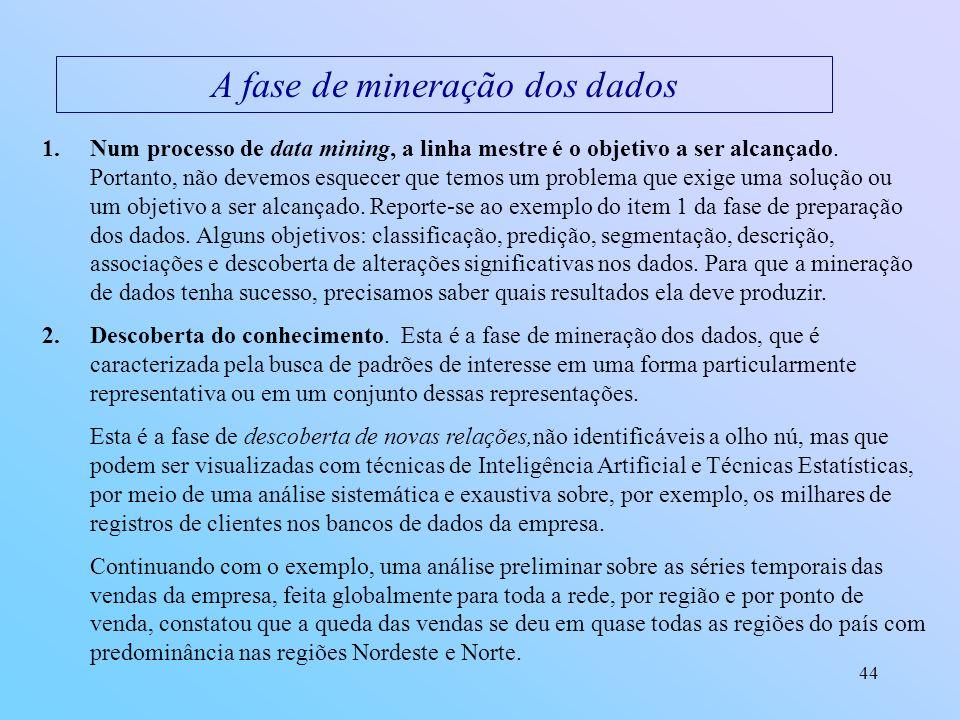 44 A fase de mineração dos dados 1.Num processo de data mining, a linha mestre é o objetivo a ser alcançado. Portanto, não devemos esquecer que temos