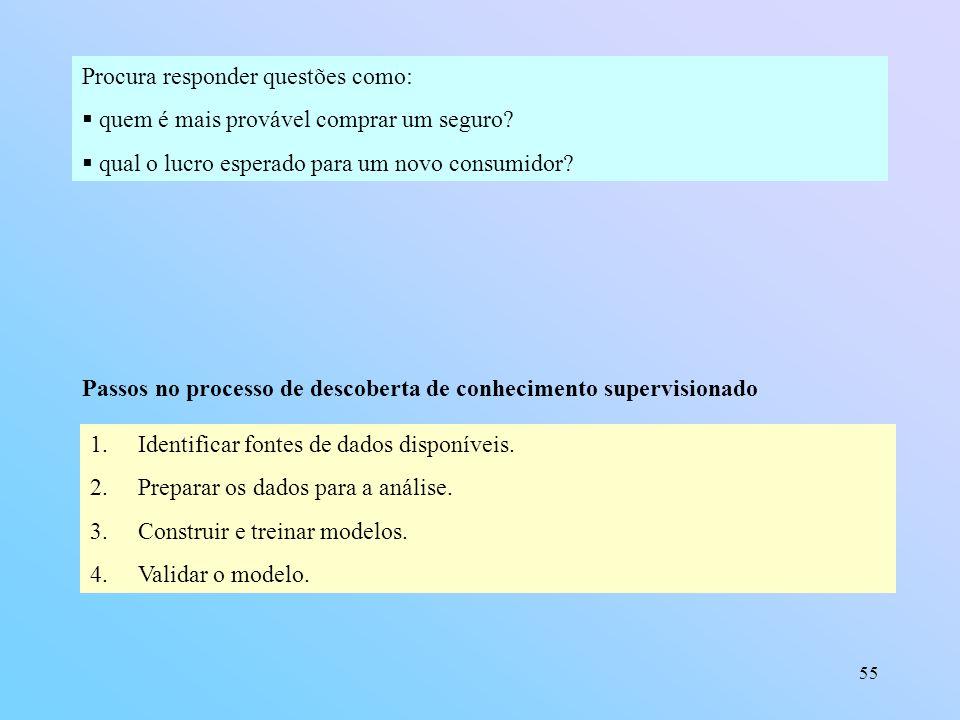 55 Procura responder questões como: quem é mais provável comprar um seguro? qual o lucro esperado para um novo consumidor? Passos no processo de desco