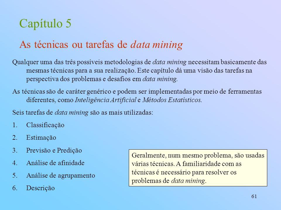61 Capítulo 5 As técnicas ou tarefas de data mining Qualquer uma das três possíveis metodologias de data mining necessitam basicamente das mesmas técn