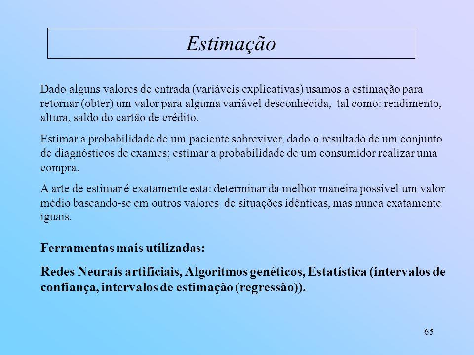 65 Estimação Dado alguns valores de entrada (variáveis explicativas) usamos a estimação para retornar (obter) um valor para alguma variável desconheci