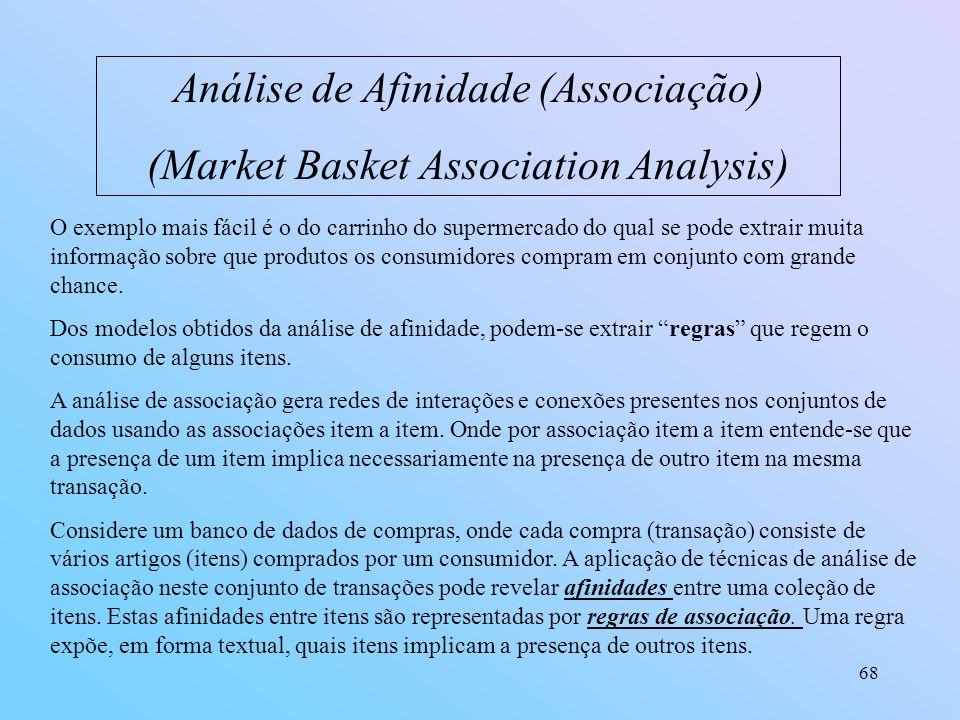 68 Análise de Afinidade (Associação) (Market Basket Association Analysis) O exemplo mais fácil é o do carrinho do supermercado do qual se pode extrair